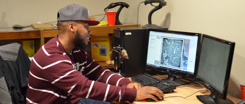 Terrance Randolph digitizing historical aerial imagery