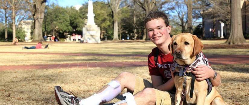 Jory Fleming sits on the Horseshoe at the University of South Carolina, Columbia.