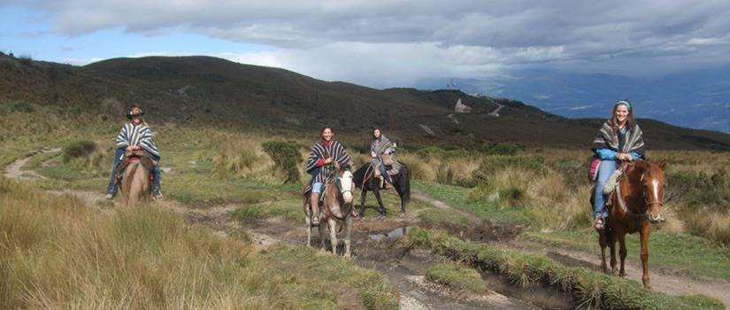 Four women on horses in a hilly countryside