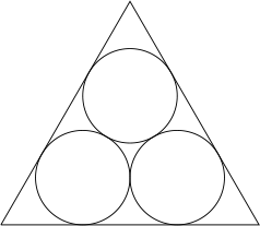 Three circles inscribed in an equilateral triangle