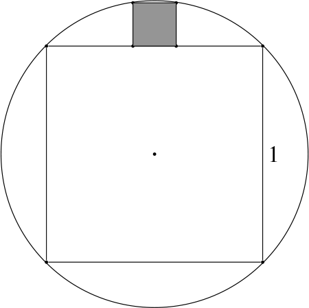 A unit square inscribed in a circle, with another square inscribed in one of the circular zones outside the given square. This square has two vertices on the side of the square with sides of length 1 and the other two vertices on the circle.