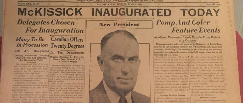 Newspaper from McKissick's inauguration day