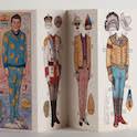 Folded paper dolls of President Ronald Reagan
