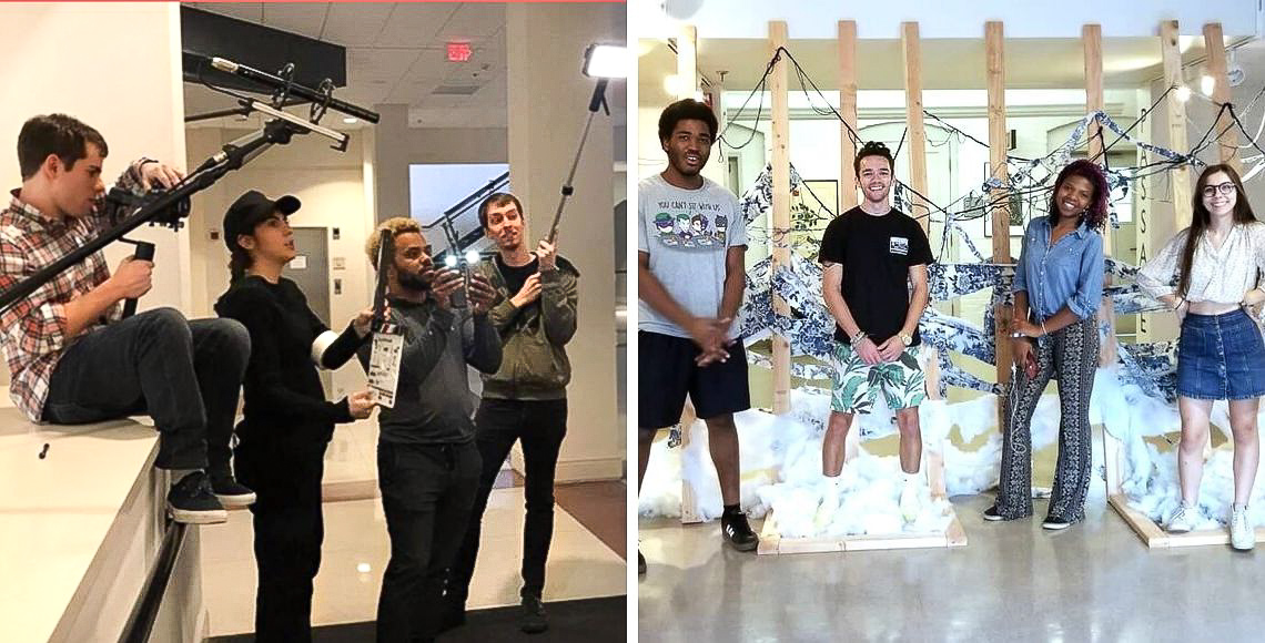 On left: students filming an interview. On right, students complete a sculpture installation.