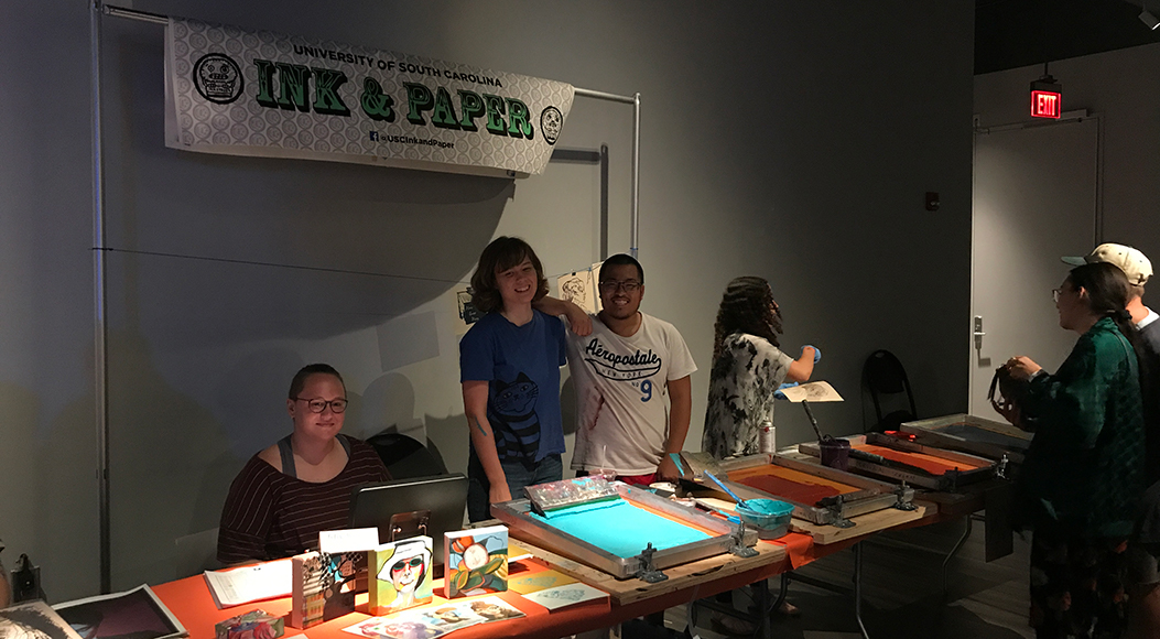 Students in the Ink and Paper printmaking organization