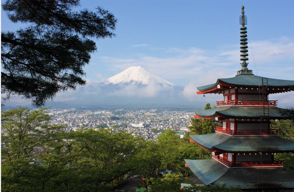 View of mountains and temple in Japan