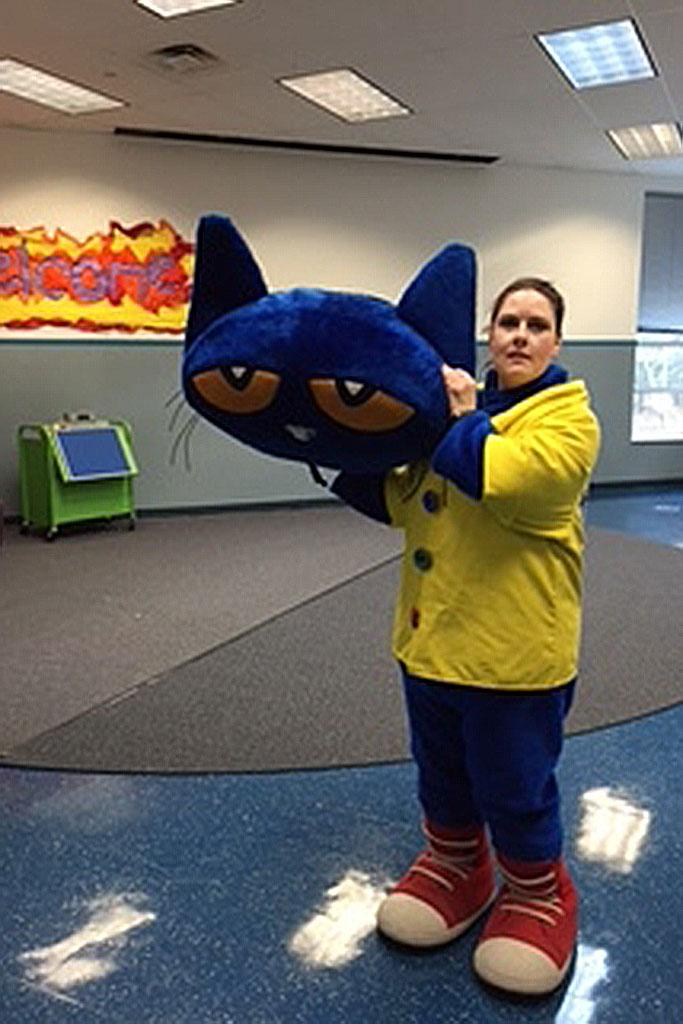 Mandy Malone dressing as Pete the Cat.