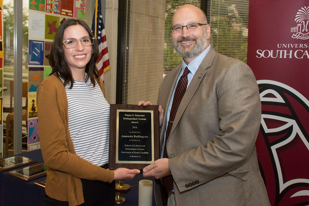 Amanda Bullington is the recipient of the Wayne S. Yenawine Distinguished Student Award. She was also was one of six students initiated into Beta Phi Mu.