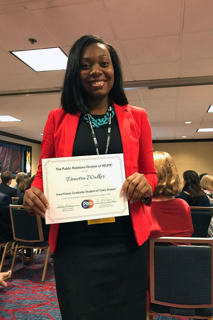 Denetra Walker is a recipient of the Inez Kaiser Graduate Student of Color Award by the Public Relations Division of AEJMC.