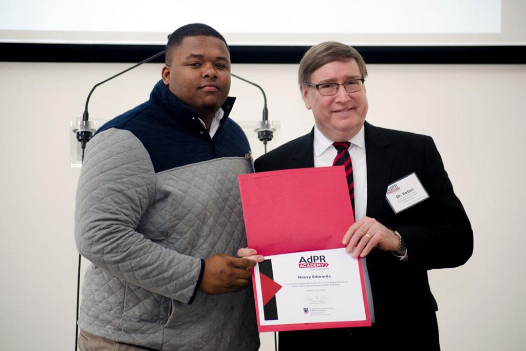 Henry Edwards, PR major from USC, won the MVP Award at the 2018 AdPR Academy.