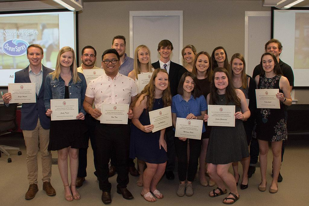 These advertising students were inducted into the Alpha Delta Sigma Honor Society.