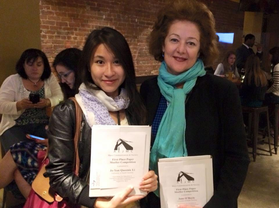 Jo-Yun Li (left) and Jane O'Boyle won the Moeller Award for best graduate student paper in the Mass Communications and Society Division.