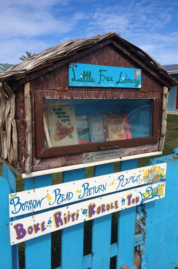 Taylor Atkinson manages both the library at Majuro Cooperative School and the Little Free Library, a community project that encourages reading in the Marshall Islands' capital city.
