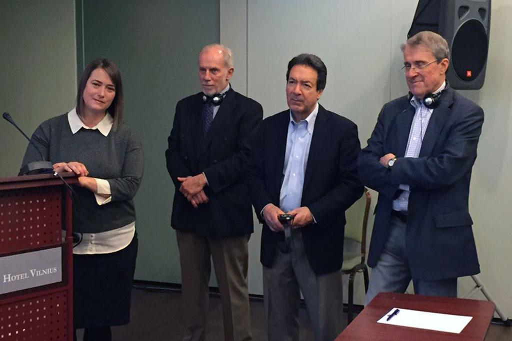 The Newsplex Initiative at the University of South Carolina is coordinating with the New England Center for Investigative Reporting at Boston University and with Lithuanian journalists to create a series of investigative reporting projects in the Baltics. (l to r) Brooke Williams, Dean Charles Bierbauer, Joe Bergantino and Randy Covington.