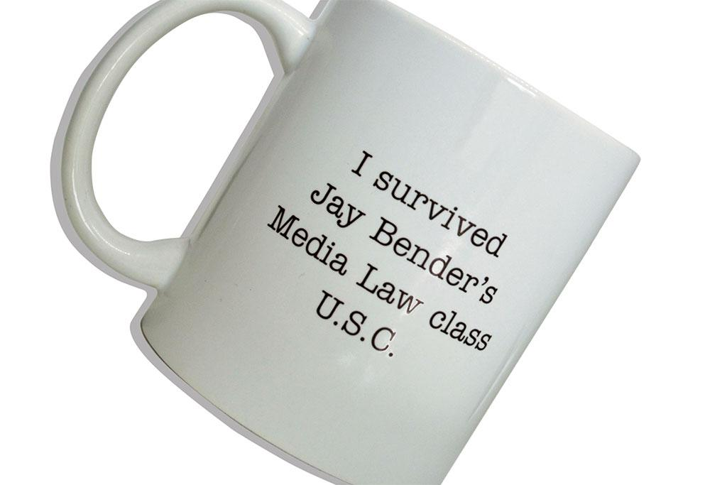 The iconic mug that Jay Bender hands out after his students pass Media Law.