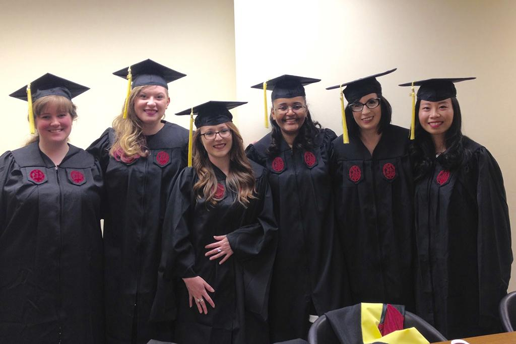 Graduation, May 2016: Rachel Acheson, Megan Coker, Lindsay Rogillio, Ashley Woodruff, Amanda Bullington, Yuan Li