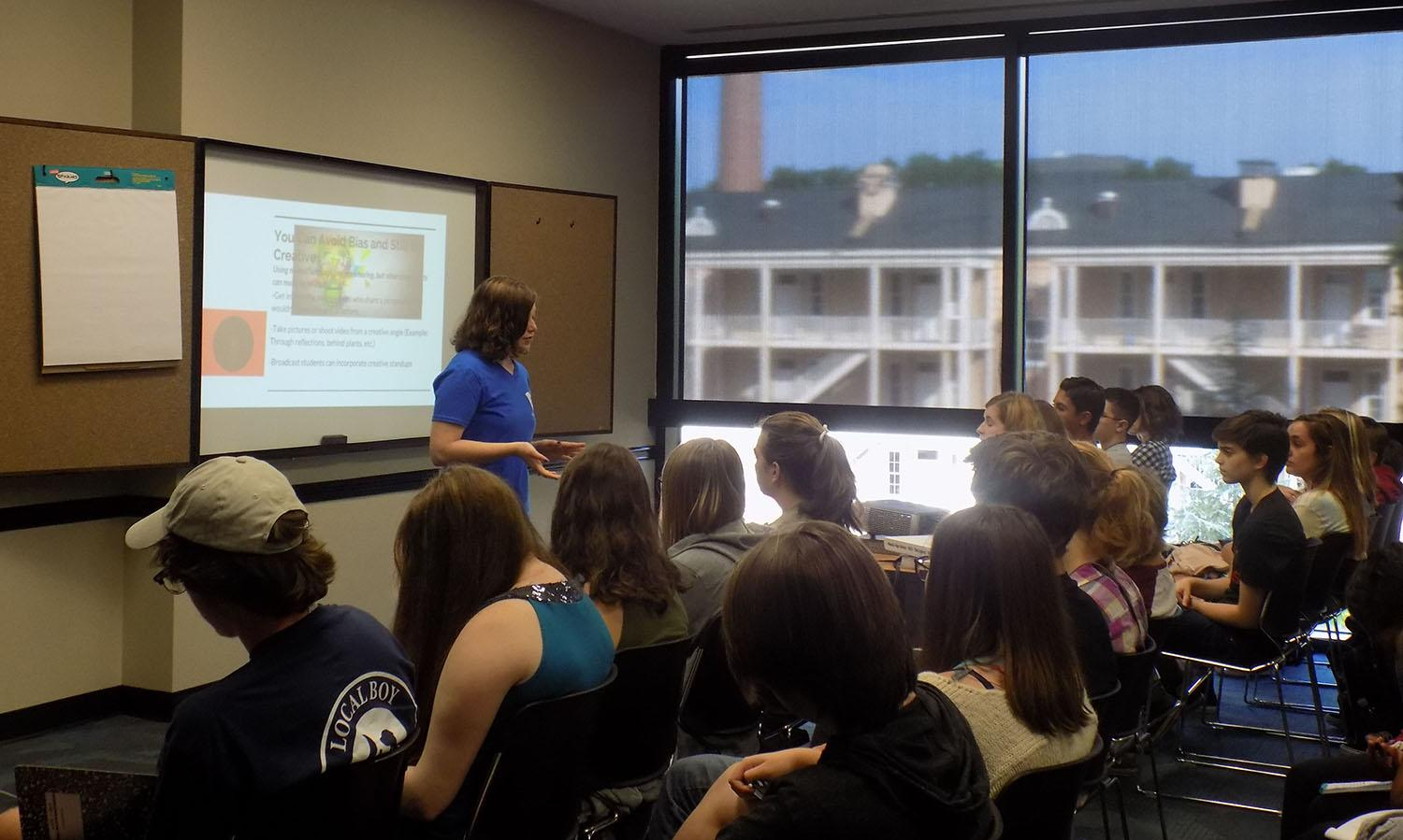 SCSPA Student President Ann Bailey of Summerville HS teaches a session on media bias. Photo courtesy of Henry Kerfoot.
