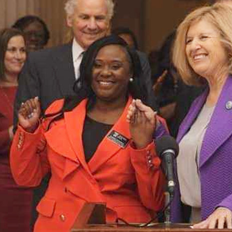 Teacher of Year, Chanda Jefferson, with state superintendent Molly Spearman