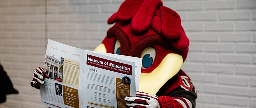 Cocky reading a Museum of Education brochure