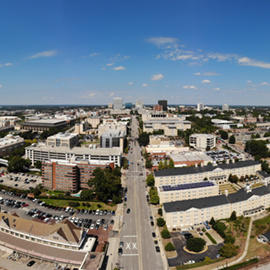 drone view of downtown columbia