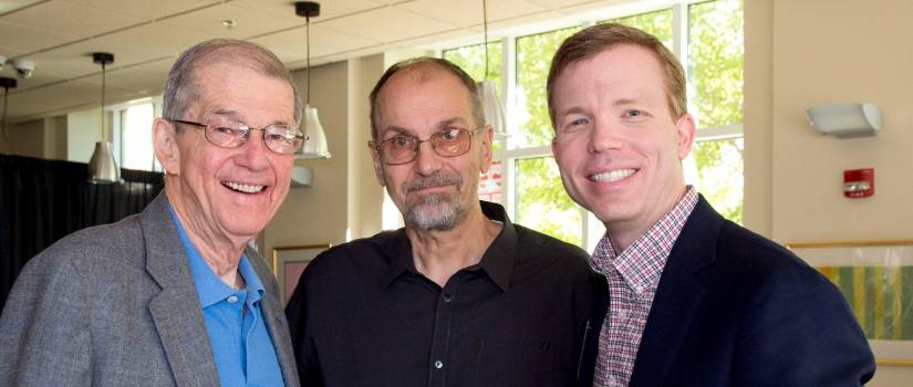 SCHC political science professor Don Fowler, former SCHC dean Peter Sederberg, and 2014 Distinguished Honors Alumnus Award recipient Reid Sherard at the 2014 homecoming brunch.