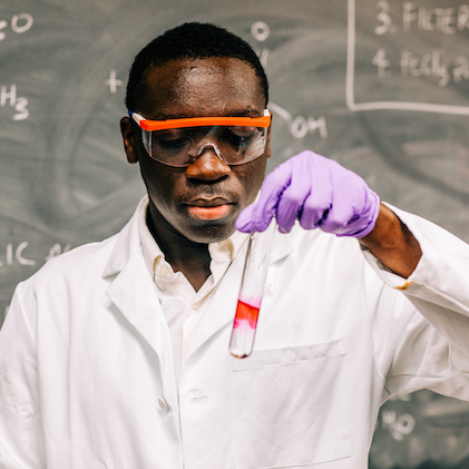 Kwame Kennedy in a lab
