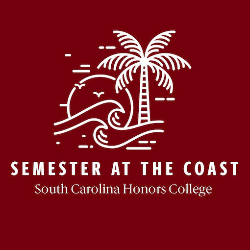 Semester at the Coast logo - white palm tree and waves against garnet background