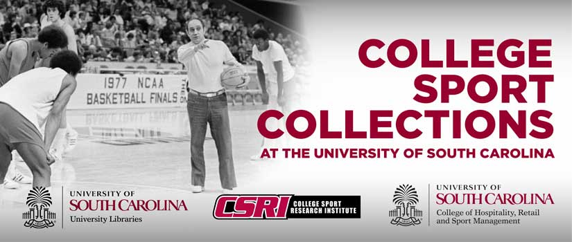 1967 image of Frank McGuire coaching on the basketball court at the University of South Carolina merged with a graphic elements.
