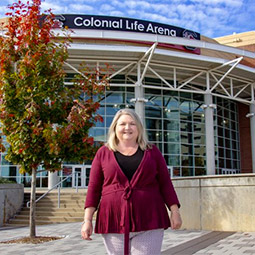 Michelle Knight in front of Colonial Life Arena. Michelle Knight completed her M.S. in Sport and Entertainment Management