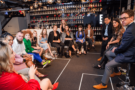 Fashion Merchandising and Retailing students meet with top executives during a panel discussion at New York Fashion Week.