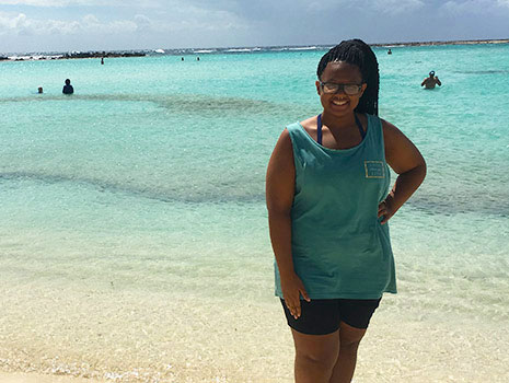 Zahria Barber is a hospitality management student who spent a semester studying in Aruba.