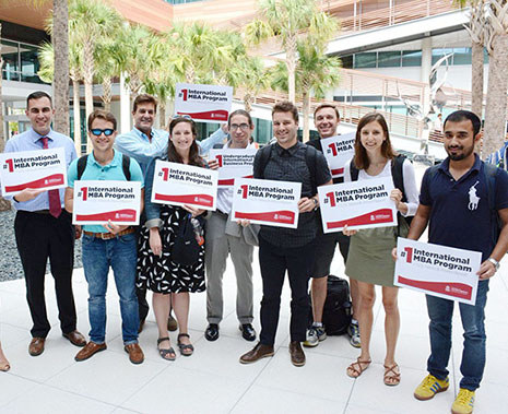 International MBA students and staff in the Moore School Palmetto Courtyard