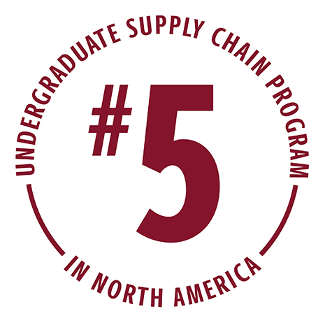 Darla Moore School of Business stamp that reads No. 5 Undergraduate Operations and Supply Chain Program in North America