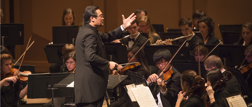 Guest conductor Zhonghui Dai with USC Symphony Orchestra.