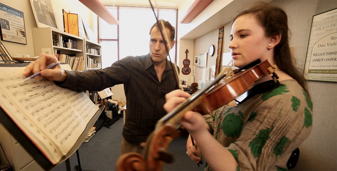Professor Terwilliger teaches violin student