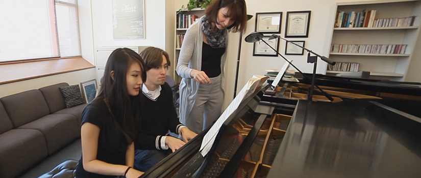 Dr. Marina Lomazov and piano students