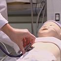 student in simulation lab