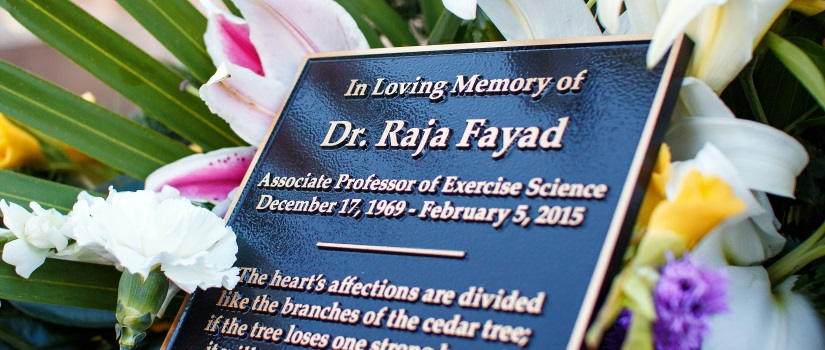 Plaque for Raja Fayad Memorial