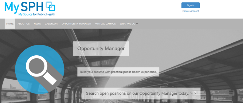 Screen shot of the homepage of the MySPH website