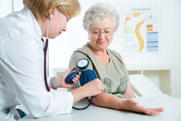 Older woman having her blood pressure measured