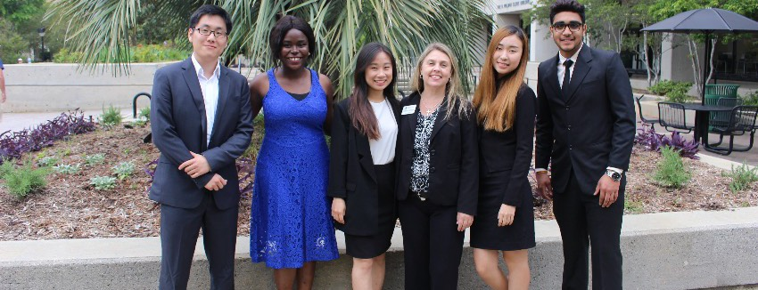 International students dressed in professional attire