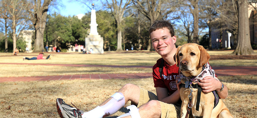 Jory Fleming and his service dog, Daisy