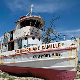Stranded boat after Hurricane Katrina