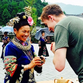 Student Joe Toomb in the Miao minority village of Guiyang, China