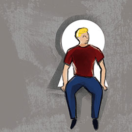 illustration of person sitting on a lock