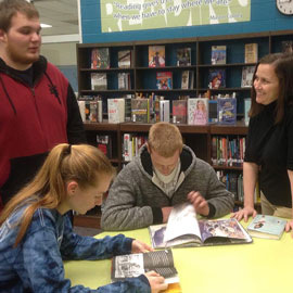 librarian with students at Wren High School