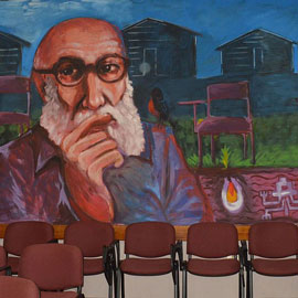 Painting of the late education philosopher Paulo Freire