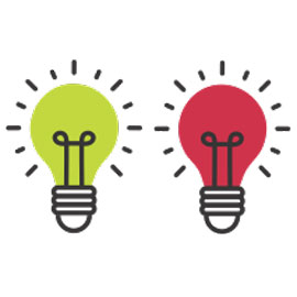 illustration with two lightbulbs, one green, one red