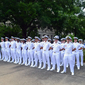 UofSC NROTC battalion in white uniforms