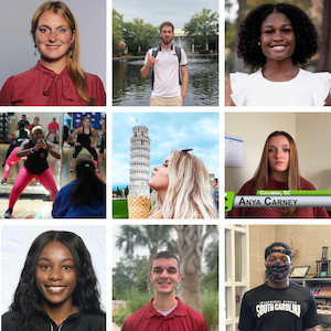 A photo grid with headshots of the 9 students featured in a gallery highlighting stories of student resilience throughout the pandemic.